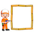 carpenter with hand drill and wood frame vector image vector image