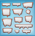 cartoon wood speech bubbles for ui game vector image vector image