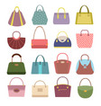 casual womens leather handbags and purses ladies vector image vector image