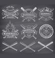 chalkboard baseball logos vector image vector image