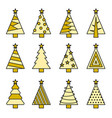 christmas tree line set vector image vector image