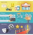Cinema horizontal banners set vector image vector image