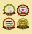 coffee and tea time set cups flowers decoration vector image