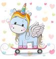 cute cartoon blue unicorn vector image vector image
