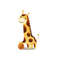 cute smiling giraffe play basketball with red ball vector image