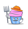 farmer cupcake character cartoon style vector image vector image
