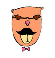 funny little bear with mustaches and glasses vector image