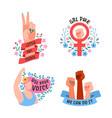 girl power female movement feminist symbols vector image