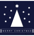greeting card Christmas white tree with text vector image vector image