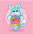 hand drawn cute dragon and flowers vector image