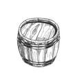 hand drawn standing vintage wooden barrel vector image