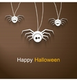 Hapy Halloween background with cute spiders vector image