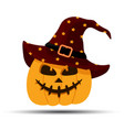 jack-o-lantern halloween pumpkin with witches hat vector image vector image