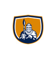 Knight Full Armor Holding Paint Brush Crest Retro vector image vector image