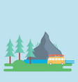 landscape with a mountain forest and a camping vector image vector image