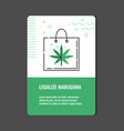 legalize marijuana vertical banner with line icon vector image vector image