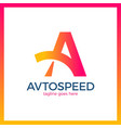 letter a logotype - auto speed icon symbol vector image vector image