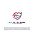 love medical pulse logo design concepthealthcare vector image vector image