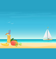 mango fruit cocktail on sand beach background vector image vector image