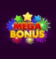 mega bonus banner for lottery or casino vector image vector image