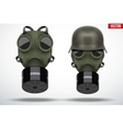 Military helmets with gas mask vector image vector image