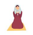 muslim woman in hijab praying on her knees eid al vector image vector image