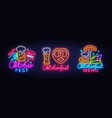 oktoberfest neon emblems collection vector image