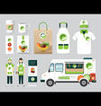 organic restaurant design set street food truck vector image