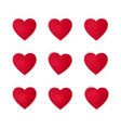 paper art cartoon red heart shape set valentines vector image