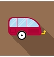 Red camping trailer icon flat style vector image