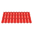 red corrugated tile element of roof vector image
