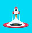 Rocket launch symbol flat design spaceship icon