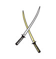 samurai sword hand drawn icon vector image