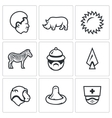 Set of Africa Icons African Animal Heat vector image vector image