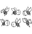Set of bee vector image vector image