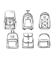 Set of different types backpacks vector image