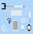 set of phone accessories smartphone vector image