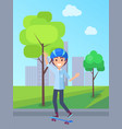 skateboarding person in park vector image vector image