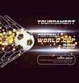 soccer or football banner with 3d ball on golden vector image vector image
