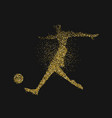 soccer player silhouette in gold glitter splash vector image vector image