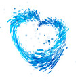 splash water heart vector image