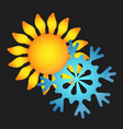 sun and snowflake vector image
