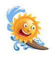 sun smile cartoon emoticon summer ocean surfing vector image