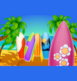 surf board in sand vector image vector image