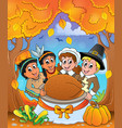 thanksgiving pilgrim theme 6 vector image