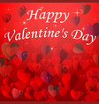 valentines day card with hearts on a red vector image