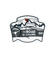 wanderlust logo emblem road trip badge vintage vector image vector image