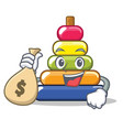 with money bag pyramid ring character cartoon vector image vector image