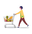 woman doing shopping in supermarket with shopping vector image