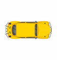 yellow retro car top view vector image